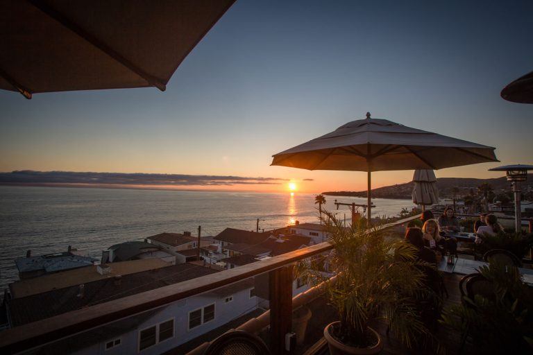 sunset view from the rooftop restaurant at la casa del camino